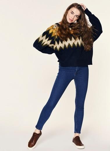 Loves You Yüksek Bel Girl Friend Jean Pantolon Mavi